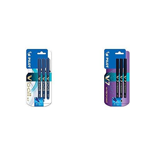 Pilot VB7 - Bolígrafo roller (3 unidades), color azul + V7 Needlepoint - Rotulador de tinta líquida (3 unidades), color negro