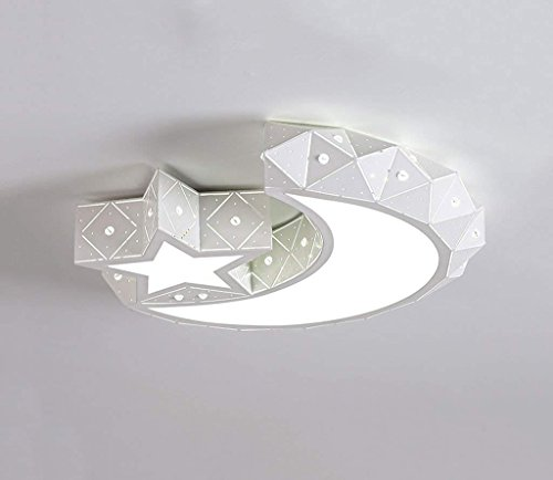 Moderne slaapkamerverlichting, star/luna/persoonlijkheid; creatieve plafondlamp van lood in de slaapkamer voor binnenverlichting voor meisjes (kleur: geleidelijk gradatie - klein)