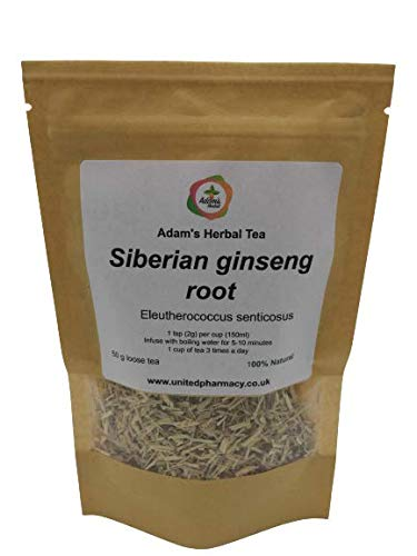 Siberian ginseng (Eleuthero root ) Premium Loose Herbal Tea 50 gr - 100% Natural Ingredient, by Adam's Herbal for Health and Wellness