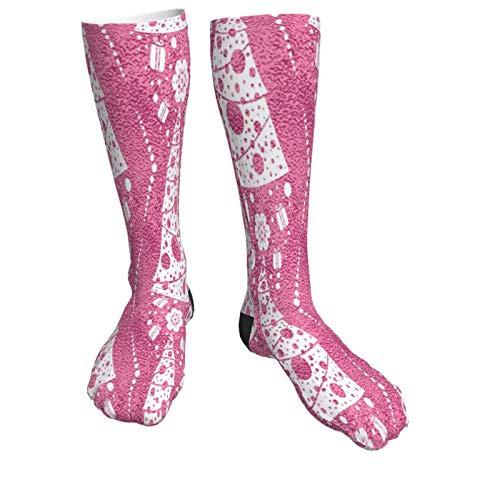 Christmas Trees Pink Warm Thick Knee High Knit Socks 50cm