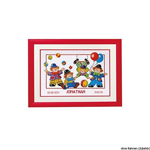 Vervaco - Kit para Certificado de Nacimiento de Punto de Cruz, diseño de Payasos, Multicolor