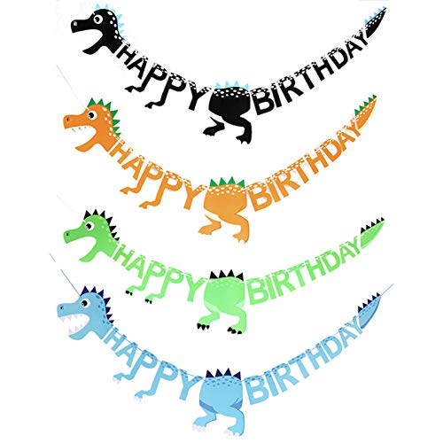 puseky 4pcs Dinosaur Flag Garland Birthday Banner Home Decoration for Adults Party Supplies