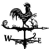 MagiDeal Veleta de Viento Decorativa, Veleta Negra, decoración de jardín, Escena Duradera Retro de Granja de paletas de Acero Inoxidable - Gallo