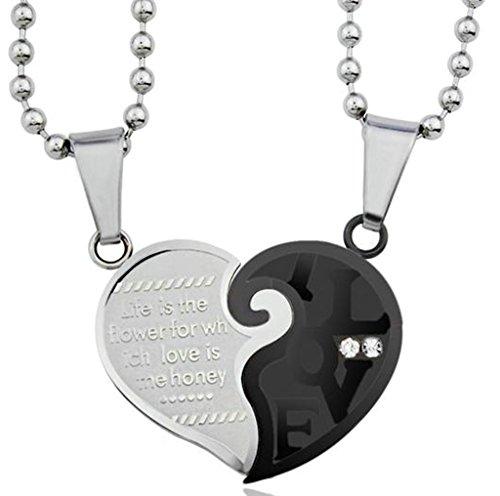 Daesar Homme & Femmes Ensemble De Collier Acier Inoxydable Coeur Puzzle Pendentif Love CZ Collier Pendentif