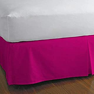 Split Corner Bed SkirtTwin XL 12 Inch Drop 100% Egyptian Cotton 600 Thread Count Luxurious & Hypoallergenic Easy to Wash Wrinkle & Fade Resistant Hot Pink