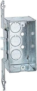Hubbell-Raco 678 2-1/8-Inch Deep, 1/2-Inch End Knockouts, Wood/Metal Stud Bracket Welded 4-Inch by 2-Inch Handy Box