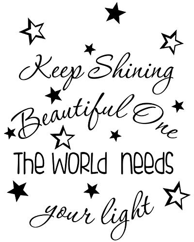 Imposing Design Keep Shining Beautiful one The World Needs Your Light 18 X 23 Vinyl Wall Quote Decal Sticker Nursery Art Corinthians Stars Decor Motivational Inspirational Lettering