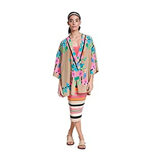 BIEGE AIZU SILK PLACEMENT KIMONO BLOUSE