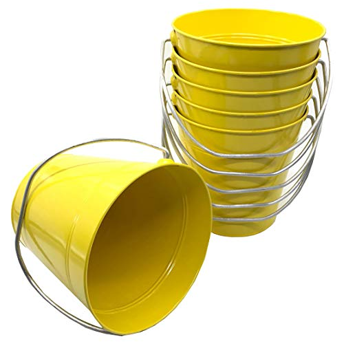 Italia 6-Pack Metal Bucket 3.7 Quart color Yellow Size 7.5 x 7.5' 6-Pack