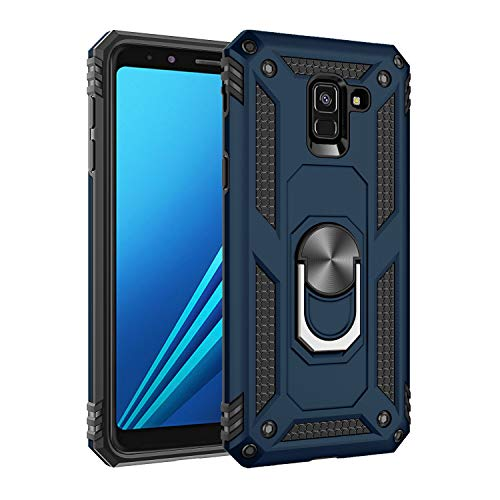 Jeack Hülle Kompatibel Samsung Galaxy A8 2018 Handyhülle,360 Grad Drehbar Ringhalter Cover Silicone Magnetische Auto Halterung Schutzhülle Stoßdämpfung Bumper Hülle für Galaxy A8 2018 (Blau)