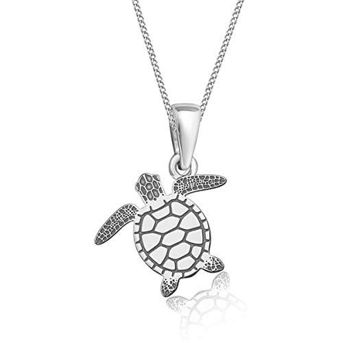 Gravur kleine Tiere Anhänger mit Halskette 925 Echt Silber Mädchen Kinder (12) Schildkröte / 24x16mm, 38)