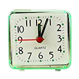 LJLLINGA Pequeño Mini Mesa Cuadrada Beep Reloj Despertador Lindo Portátil Pequeño Viaje Reloj de Escritorio de Cuarzo Relojes Clásicos Soporte de Batería