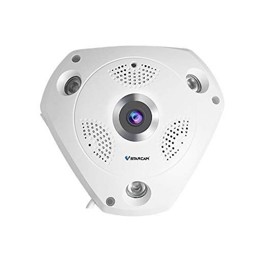 Vstarcam Camaras de Vigilancia WiFi Interior, Cámara Ojo de Pez len Camara 360° Panorámico Alarmas Hogar HD 1536P Camara Panoramica 2 Way Audio IR-Cut Visión Nocturna Detección de Movimiento