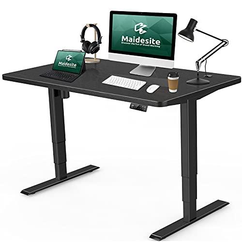 MAIDESITE 電動昇降デスク スタンディングデスク 高さ調節デスク 人間工学 メモリー機能付き パソコンデスク オフィスデスク オフィスワークテーブル 天板入り 電動式デスク パソコンデスクセット (ブラック, 120*60*2.5cm)