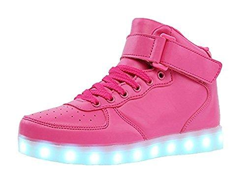 Unisex Niños USB Carga LED Luz Luminosas Flash Zapatos Zapatillas de Deporte para Los Reyes Magos (Púrpura 41 EU)