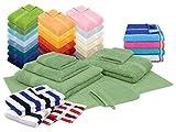 npluseins Bio-Handtuchserie im Doppelpack - erhältlich in 22 modischen und trendigen Unifarben in 7 verschiedenen Größen, sowie 7 Streifen-Variationen, Handtuch 50 x 100 cm, Salbei