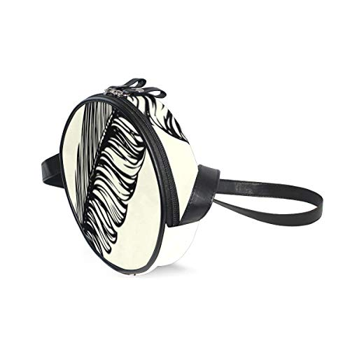 WomensPurseCrossbody Feather Pen And Ink SatchelBagsForWomenCrossbody With Adjustable Shoulder Strap Fashion Circle SatchelBagsForWomenCrossbody For Teen Girls And Woman