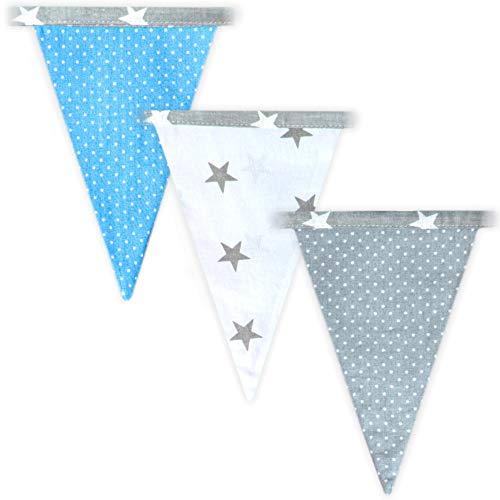 Totsy Baby banderines Decoracion habitacion Bebe - banderines de Tela Infantil, Guirnalda Infantil (Azul, 350 CM)