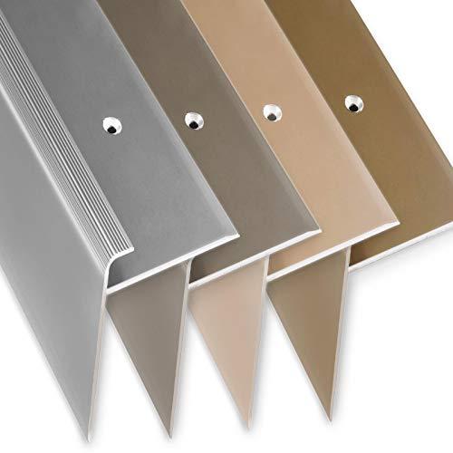 Stufenkantenprofil Safety | F-Form | Treppenkantenprofil in 4 Farben & 3 Längen | Für Bodenbeläge mit 7-8 mm Höhe | inkl. Montagematerial (Länge: 90 cm | Höhe: 53 mm, Silber)