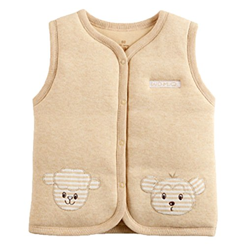 Monvecle Baby Organic Cotton Warm Vests Unisex Infant to Toddler Light Padded Waistcoat Lt.brown 18-24m