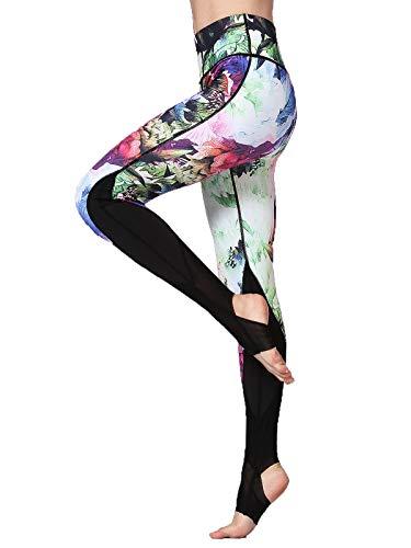FLYILY Donna Leggings Sportivi Elastico Stampa Floreale Pantalone da corsa da donna Leggings a vita alta Pantaloni da yoga lunghi elasticizzati(Z-ColorFlower,S)