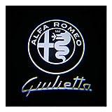 Luce di benvenuto della porta 2pz compatibile con Alfa Romeo LED Car Benvenuti luce di cortesia del portello di marchio compatibili luce con Alfa Romeo Giulietta 159 Giulia Mito Stelvio Brera Luce di