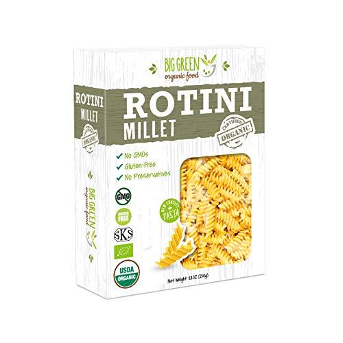 Big Green Organic Food- Organic Millet Rotini, 8.8oz, Gluten-Free, Non-GMO, Vegan (1)