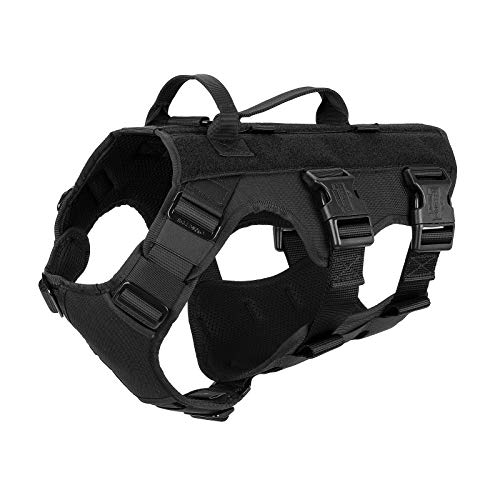 ICEFANG GN6 Patrol Tactical Dog Harness 7 Points Adjustable K9 Walking Training Vest Hook and Loop Panels (M (Neck 16'-22'; Chest 25'-31'), Black)