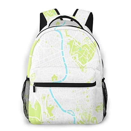 Rucksack Männer und Damen, Laptop Rucksäcke für 14 Zoll Notebook, Luftbild Stadtplan Rom Kinderrucksack Schulrucksack Daypack für Herren Frauen