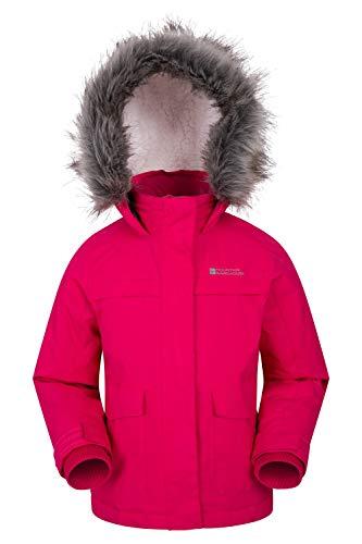 Mountain Warehouse Samuel Kinder Wasserabweisende Kinderjacke- Parka mit Fleecefutter und Kapuze- Ideale Winterjacke leuchtendes Pink 116...