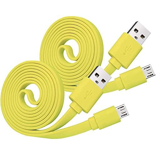 Adhiper UE Boom Cargador Cable de alimentación Cable de Carga Plano de Repuesto Compatible con UE Boom Boom2 for Megaboom Miniboom Roll Altavoz Inalámbrico (2 Piezas/Amarillo)