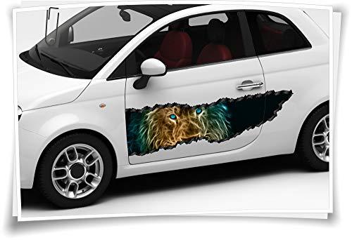 Medianlux Auto-Aufkleber Seitenstreifen Löwe König Tiere Feuer Augen Airbrush Folie Tuning Car-Wrapping Luftkanalfolie Digitaldruck Folierung