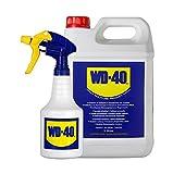 WD-40 Producto Multi-Uso- Garrafa 5L y pulverizador - Lubrica, Afloja, Protege del óxido, Dieléctrico, Limpia metales y plásticos y Desplaza la humedad. Formato para usos intensivos (44506/E)