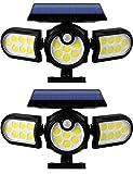 Luz Solar Exterior Jardín, 2 Piezas 140 LED Sensor de Movimiento Solar Luz de Pared de Seguridad y Focos en el Suelo, 270 ° Ajustable IP65 Impermeable Lámpara para Jardín Porche Terraza Patio Garaje