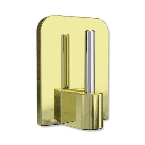 INTERDECO Klebehaken mit Metallstift, selbstklebend in Messing-farbig für Vitragestangen (12 Stück)