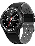 Smart Watch for Android Phones iPhone Compatible, Waterproof GPS Men Watches with Blood Pressure and Heart Rate Monitor, Notifications, Alarm Clock, Multisport Tracker, Round Face, Rubber Band, 2020