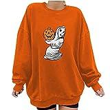 feftops Sudadera de Manga Larga Mujer con Estampado Calabaza Halloween Patrón de Calabaza Talla Grande Deportes Invierno Color Sólido Marrón Suelto Suéter