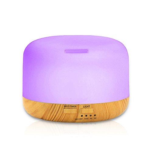 Diffusore di Oli Essenziali, Diffusore di Aromi Umidificatore Diffusore Ambiente con Timer, Controllo della nebbia, Senz\'acqua Spegnimento Automatico e 7 Colori che Cambiano (300ML)
