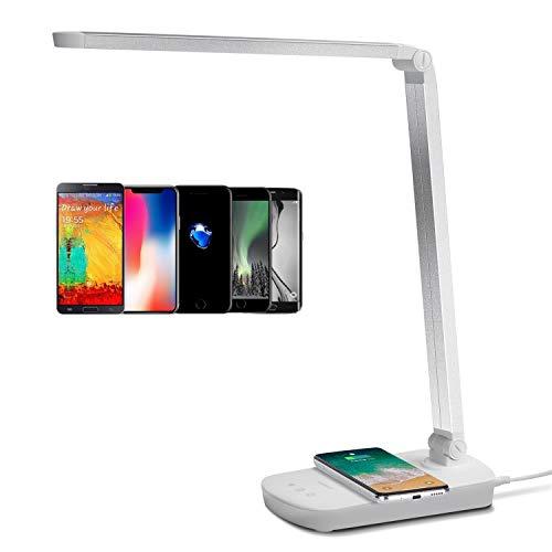 Schreibtischlampe Led Ladefunktion Qi Augenschutz Induktiv Kabellos Wireless Handy Laden Tischlampe Tageslicht Tischleuchte mit USB Anschluss Büro Kinder, 5W (13 Watt) Dimmbar Weiß