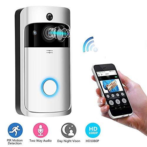 Video Türklingel, 1080p HD 166 Grad Weitwinkel Wireless Anti-Theft Kamera WLAN IR Nachtsicht, PIR Bewegungserkennung, 2D / 3D Rauschunterdrückung, App Steuerung(Silver)(Batterie Nicht enthalten)