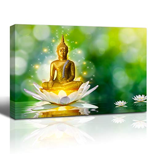 The Melody Art Canvas Wall Art Prints Buddha on Lotus Painting Modern Art for Living Room Home Decoration Stretched and Framed Ready to Hang,16x24 inches