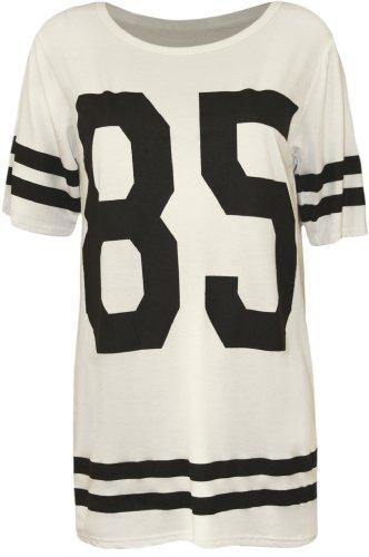 WearAll - Damen '85' Druck Kurzarm Baseball Trikot T-Shirt Top - Weiß - 40-42