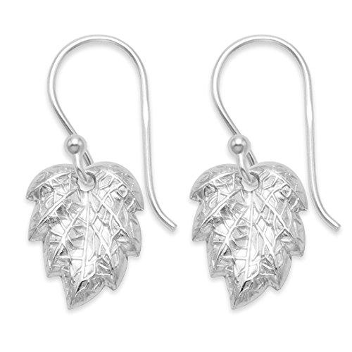 Heather Needham Sterling Silver Leaf Earrings, Leaf drop earrings - SIZE: 12mm. Gift Boxed 6088
