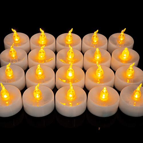 Homemory LED Tea Lights, Set of 24 Flameless Flickering Tealight Candle, Electric Fake Candle for Votive, Wedding, Party, Table, Dining Room, Gift