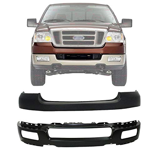 New Front Bumper Lower Face Bar Paintable with Fog Light Holes + Upper Cover...