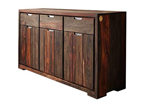 MASSIVMOEBEL24.DE Palisander Massivmöbel geölt Sideboard Sheesham Holz massiv Massivholz Pure Sheesham Strong Grey #881