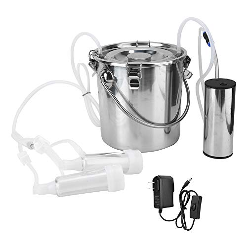 HEEPDD 5L Electric Milking Machine Kit, Minitype Portable Stainless Steel Double Head Milker Machine Household Electric Sheep Goat Cow Milking Machine (for Goat US Plug)