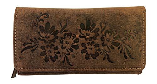 Damen Geldbörse Geldbeutel Rindleder Portemonnaie Braun Vintage Dargelis mit floralem Muster