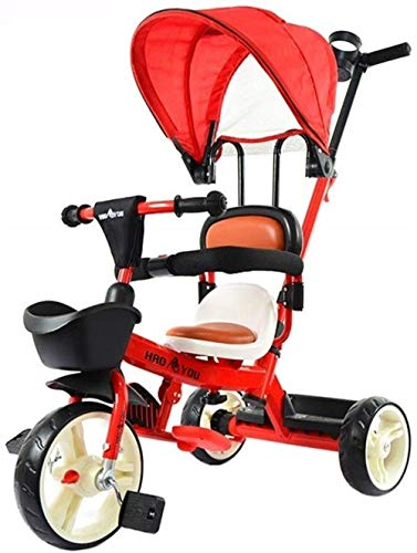 Sillas de paseo Infantil empuje Triciclos Trikes Niños Y Ride triciclo del cochecito de altura ajustable de empuje paseo en triciclo asiento ajustable con el pabellón estribo de empuje de 1-3-5 años d