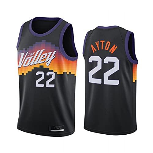 Amelia Männer NBA Basketball-Trikots Phoenix-Sonnen # 22 Deandre Ayton Classic Jersey Retro Bequeme leichte atmungsaktive All-Stars Unisex-Uniform,Schwarz,L